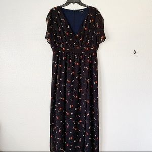 Madewell Navy Twig and Flower Print Maxi Dress